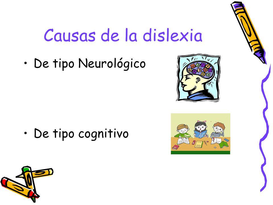 Causas de la dislexia De tipo Neurológico De tipo cognitivo