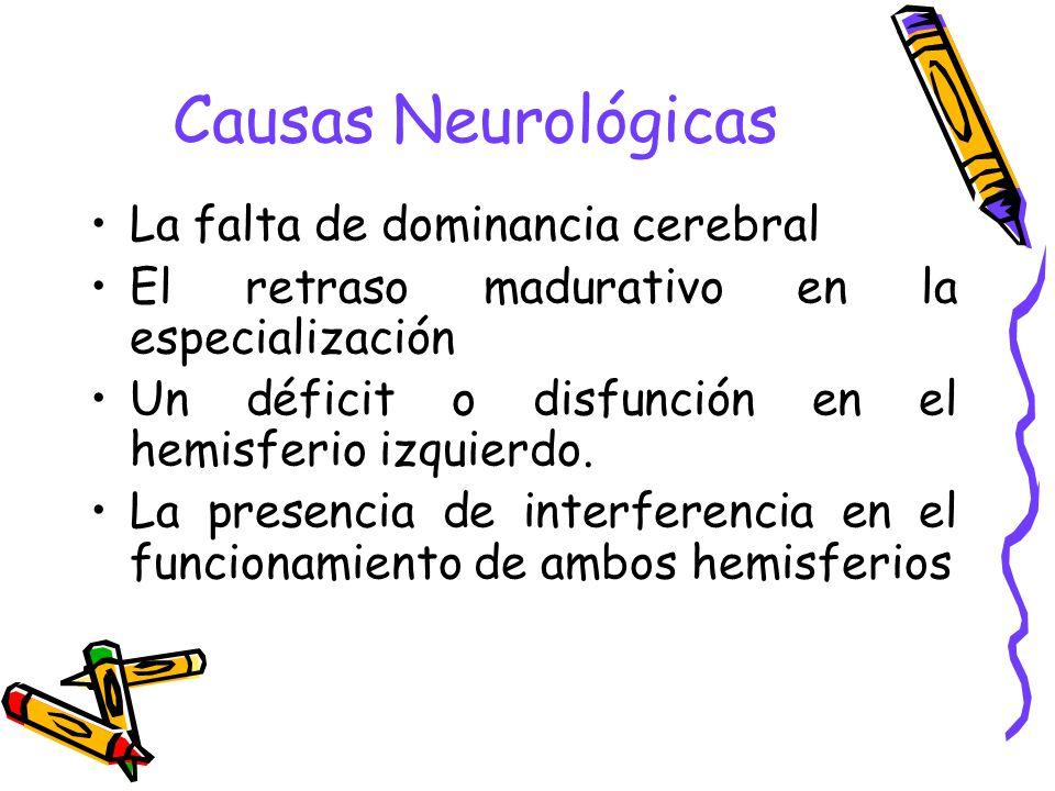 Causas Neurológicas La falta de dominancia cerebral El retraso madurativo en la especialización Un déficit o disfunción en el hemisferio izquierdo. La