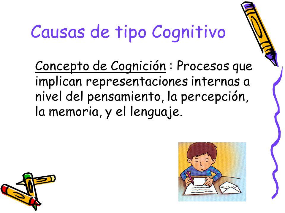 Causas de tipo Cognitivo Concepto de Cognición : Procesos que implican representaciones internas a nivel del pensamiento, la percepción, la memoria, y