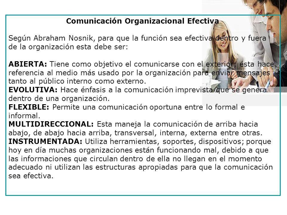 Comunicación Organizacional Efectiva Según Abraham Nosnik, para que la función sea efectiva dentro y fuera de la organización esta debe ser: ABIERTA: