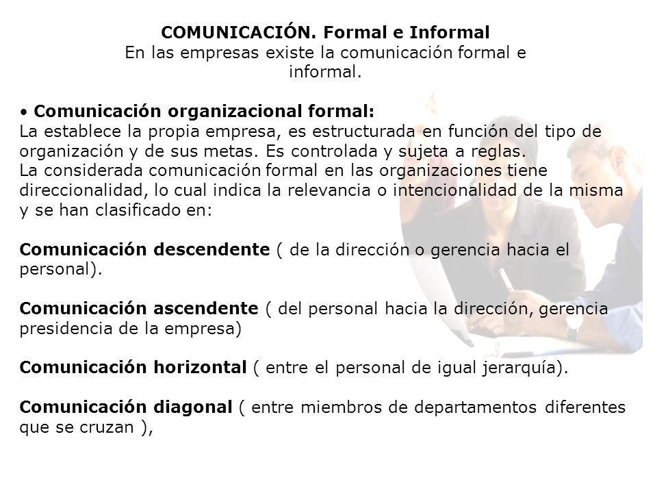 COMUNICACIÓN. Formal e Informal En las empresas existe la comunicación formal e informal. Comunicación organizacional formal: La establece la propia e