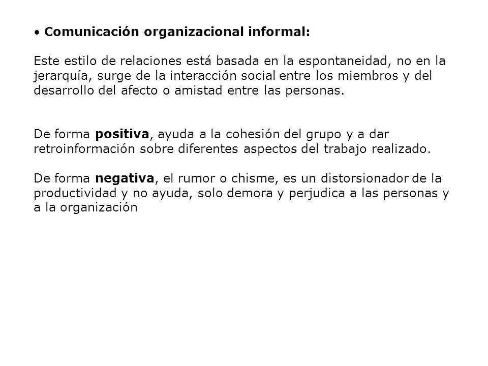 Comunicación organizacional informal: Este estilo de relaciones está basada en la espontaneidad, no en la jerarquía, surge de la interacción social en