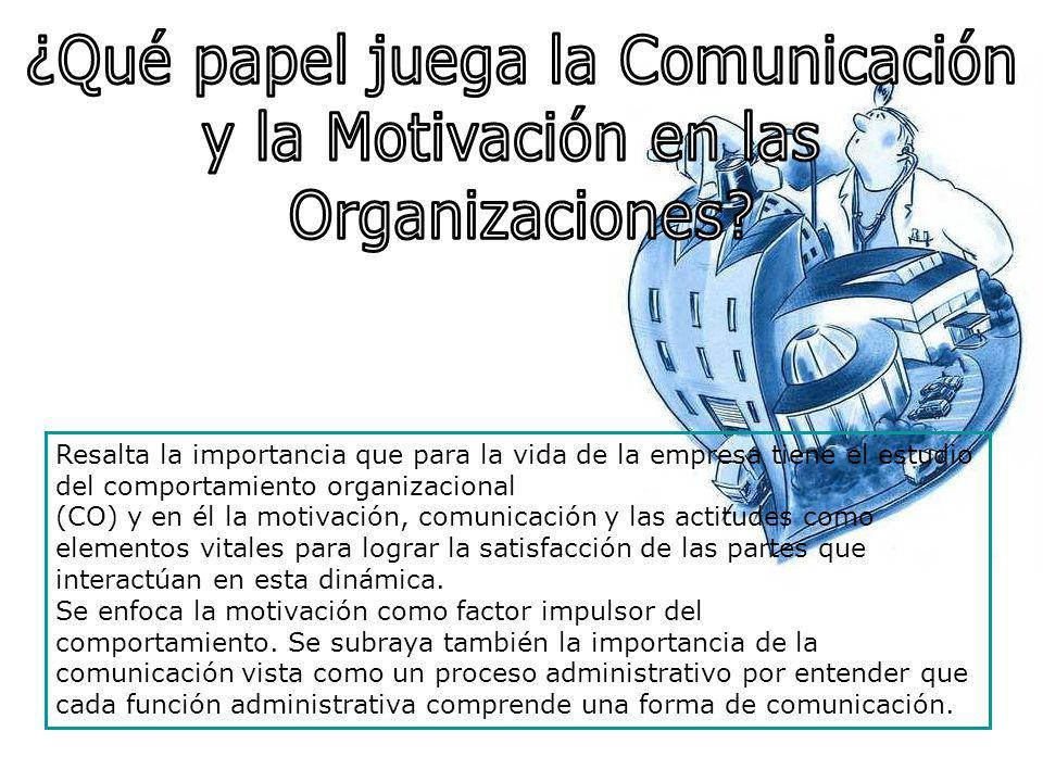 Resalta la importancia que para la vida de la empresa tiene el estudio del comportamiento organizacional (CO) y en él la motivación, comunicación y la