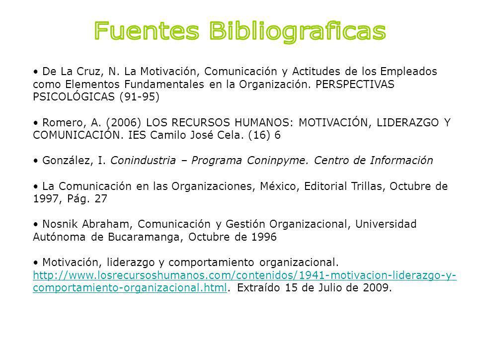 De La Cruz, N. La Motivación, Comunicación y Actitudes de los Empleados como Elementos Fundamentales en la Organización. PERSPECTIVAS PSICOLÓGICAS (91