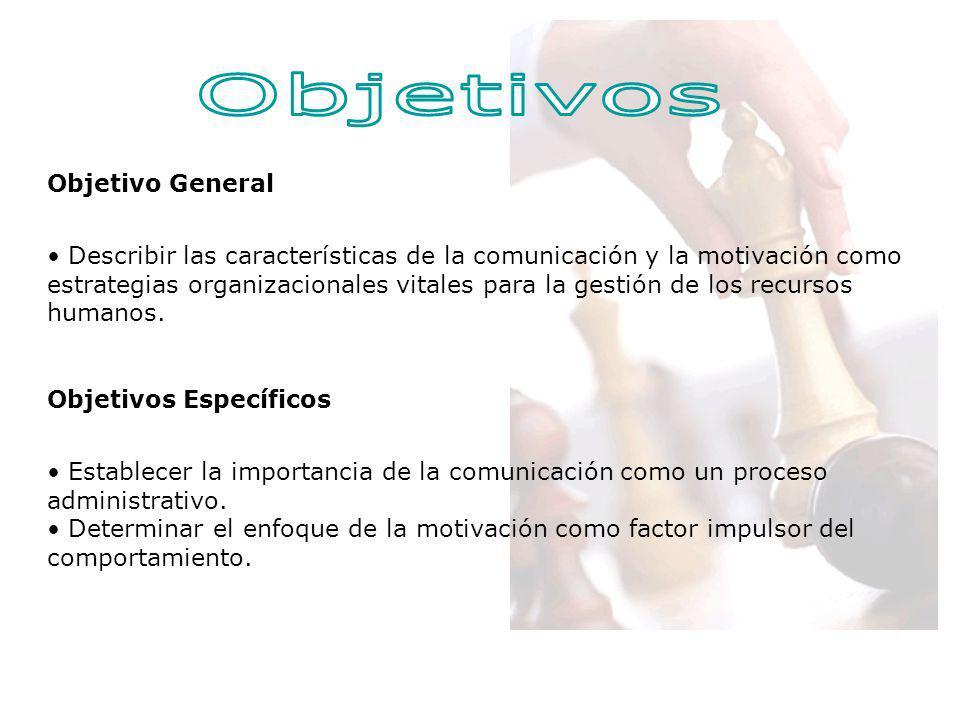 Objetivo General Describir las características de la comunicación y la motivación como estrategias organizacionales vitales para la gestión de los rec