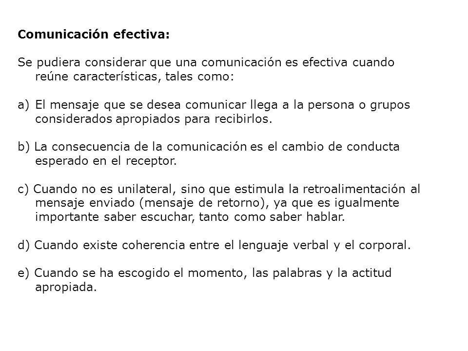 Comunicación efectiva: Se pudiera considerar que una comunicación es efectiva cuando reúne características, tales como: a)El mensaje que se desea comu