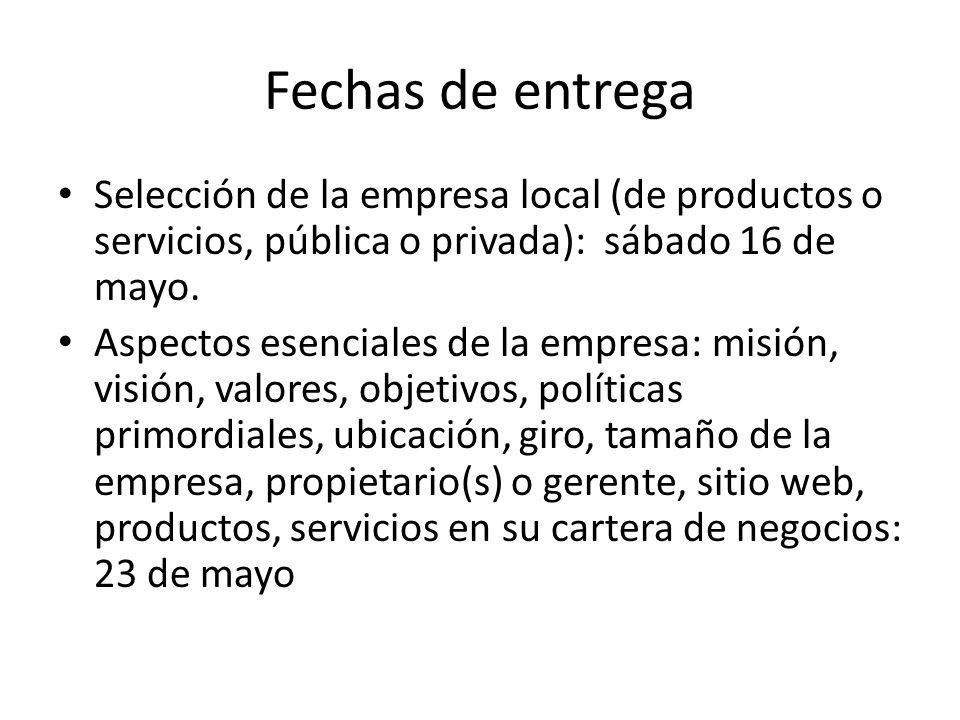 Fechas de entrega Selección de la empresa local (de productos o servicios, pública o privada): sábado 16 de mayo. Aspectos esenciales de la empresa: m