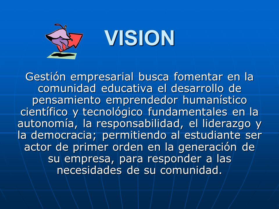 VISION Gestión empresarial busca fomentar en la comunidad educativa el desarrollo de pensamiento emprendedor humanístico científico y tecnológico fund