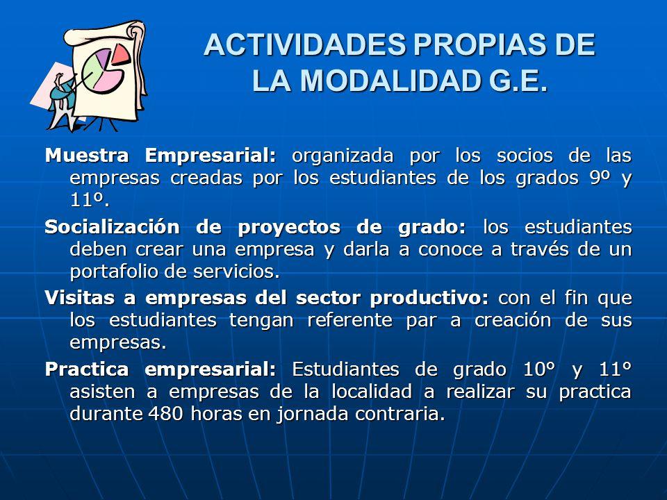 ACTIVIDADES PROPIAS DE LA MODALIDAD G.E. Muestra Empresarial: organizada por los socios de las empresas creadas por los estudiantes de los grados 9º y