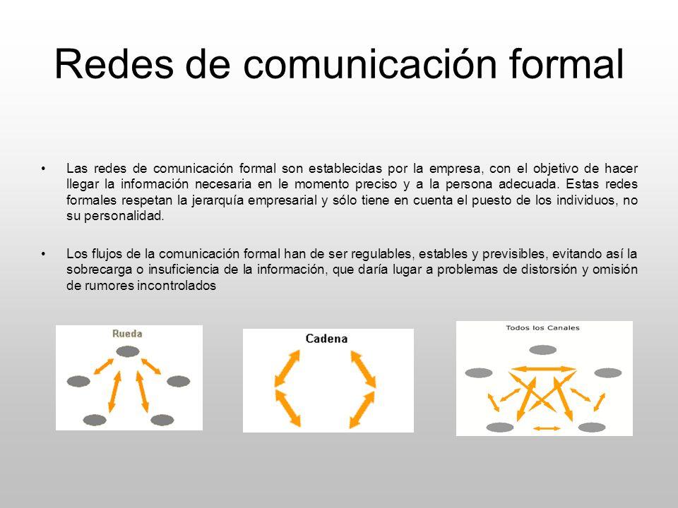Redes de comunicación formal Las redes de comunicación formal son establecidas por la empresa, con el objetivo de hacer llegar la información necesari