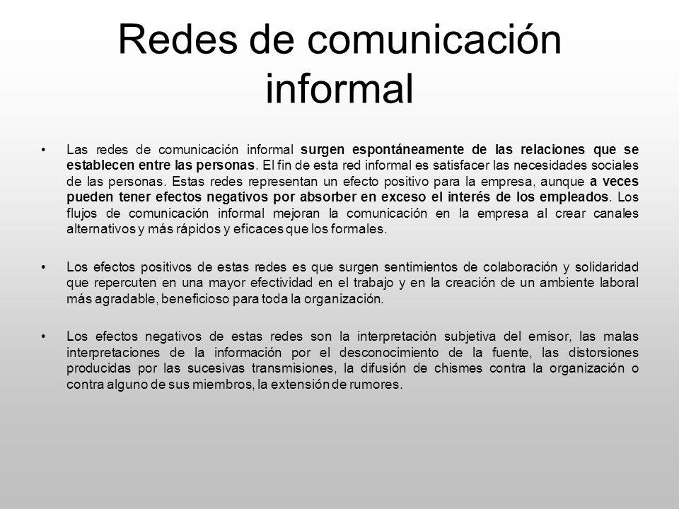 Redes de comunicación informal Las redes de comunicación informal surgen espontáneamente de las relaciones que se establecen entre las personas. El fi