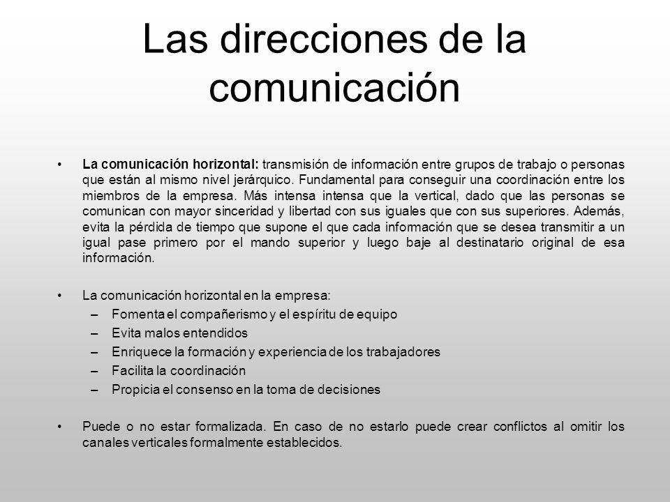 Las direcciones de la comunicación La comunicación horizontal: transmisión de información entre grupos de trabajo o personas que están al mismo nivel