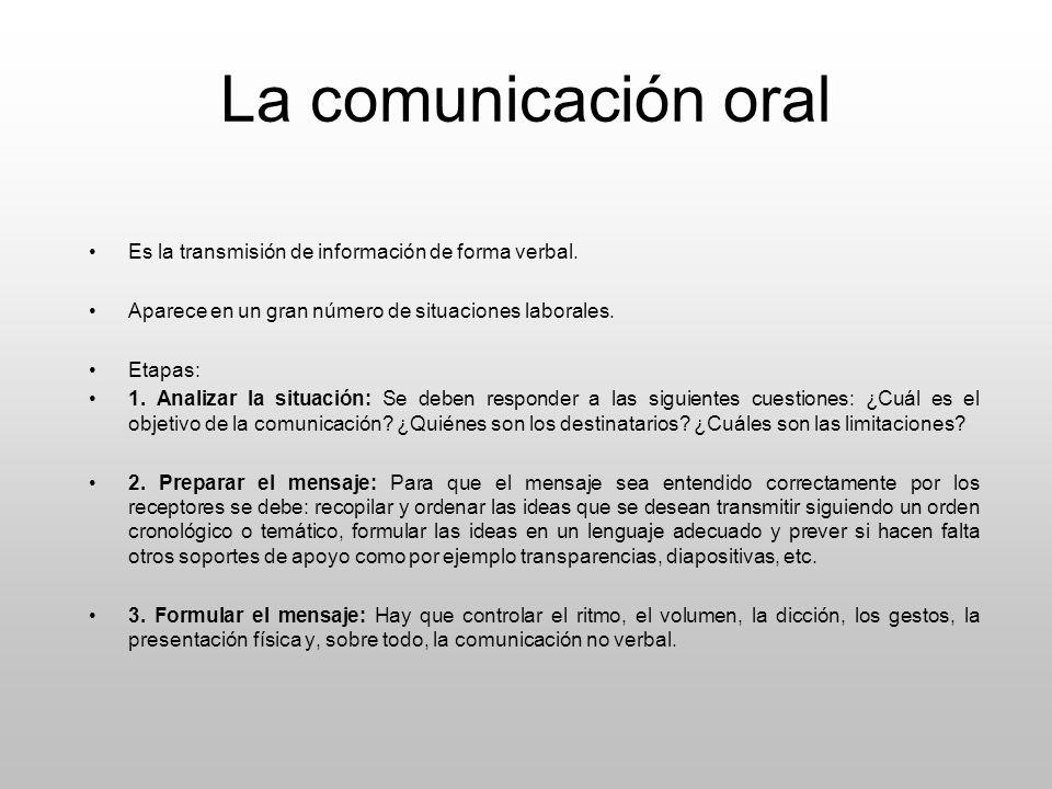 La comunicación oral Es la transmisión de información de forma verbal. Aparece en un gran número de situaciones laborales. Etapas: 1. Analizar la situ