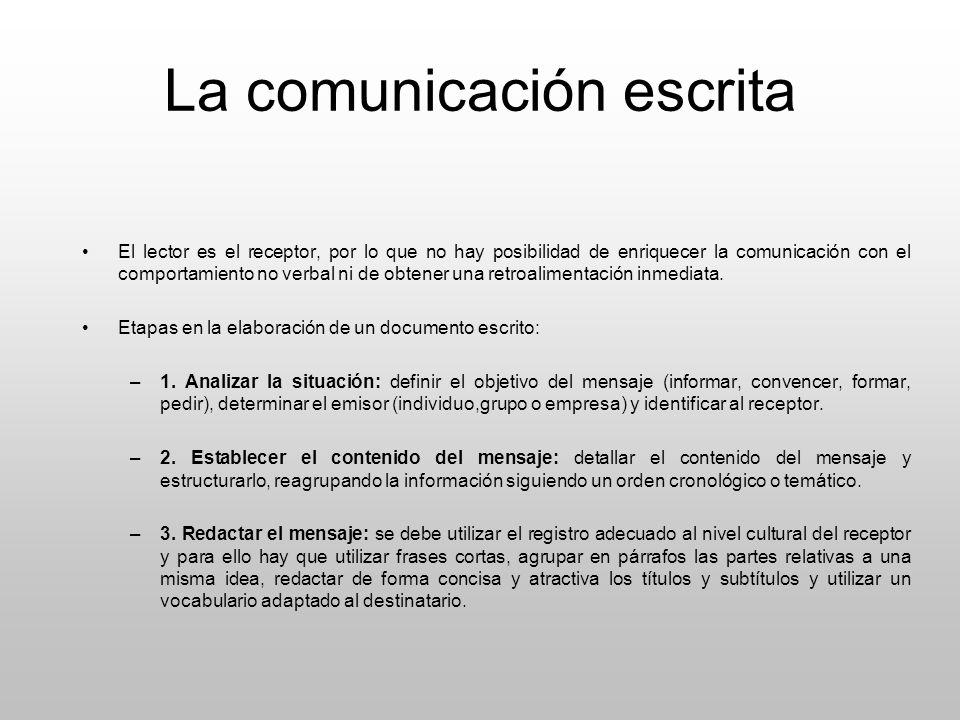 La comunicación escrita El lector es el receptor, por lo que no hay posibilidad de enriquecer la comunicación con el comportamiento no verbal ni de ob