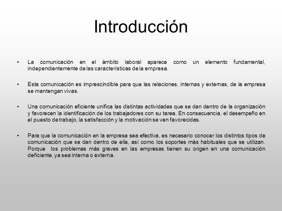 Introducción La comunicación en el ámbito laboral aparece como un elemento fundamental, independientemente de las características de la empresa. Esta