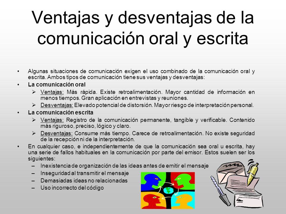 Ventajas y desventajas de la comunicación oral y escrita Algunas situaciones de comunicación exigen el uso combinado de la comunicación oral y escrita
