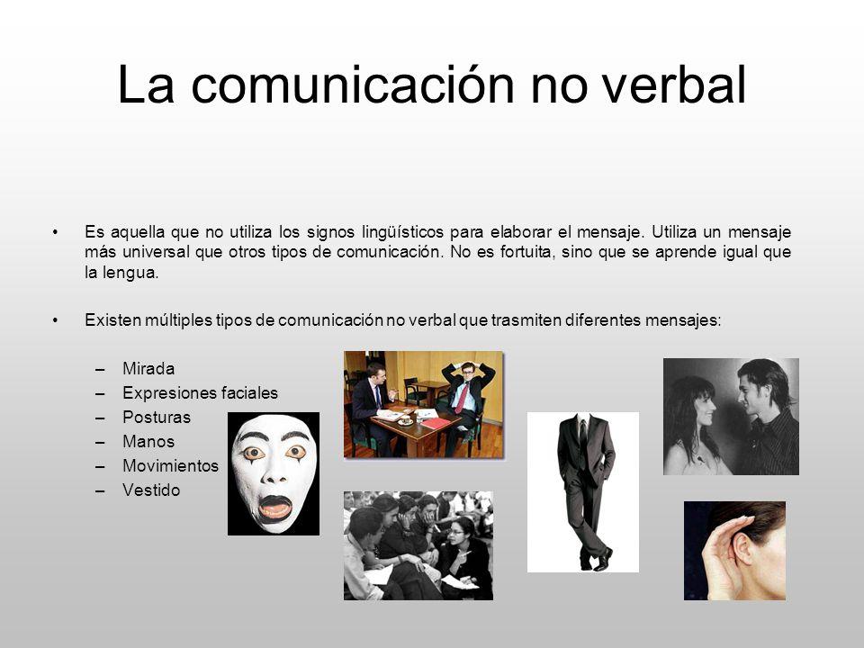 La comunicación no verbal Es aquella que no utiliza los signos lingüísticos para elaborar el mensaje. Utiliza un mensaje más universal que otros tipos