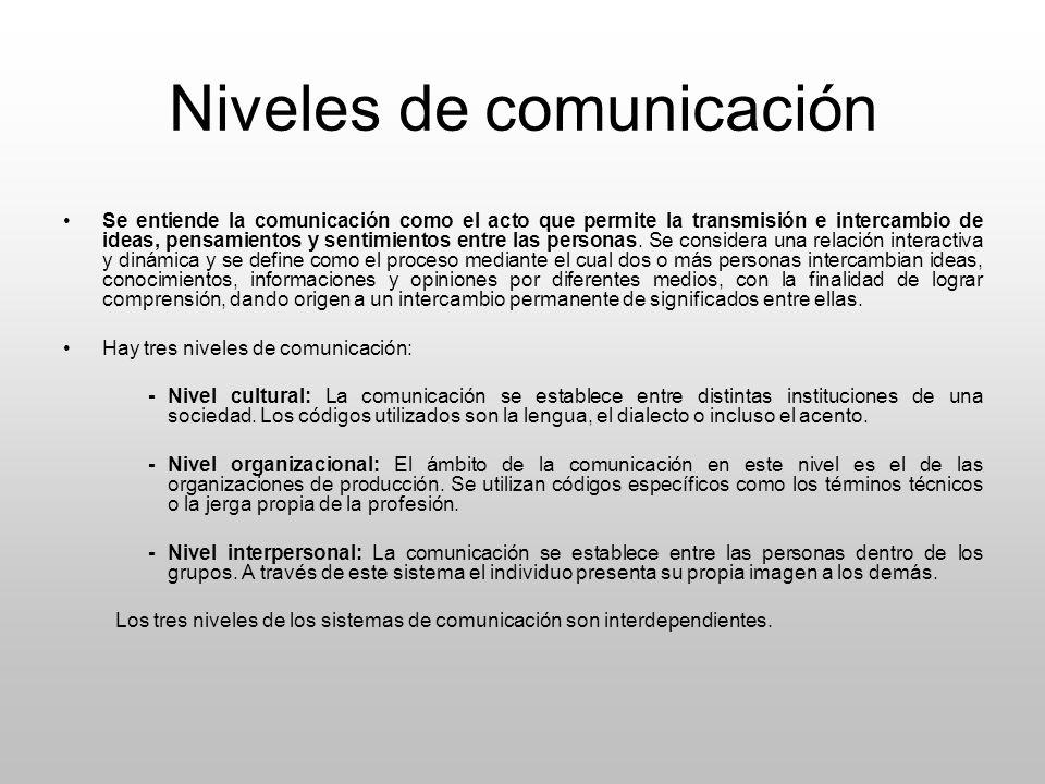 Niveles de comunicación Se entiende la comunicación como el acto que permite la transmisión e intercambio de ideas, pensamientos y sentimientos entre