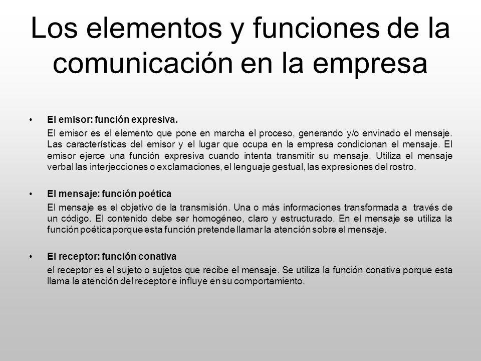 Los elementos y funciones de la comunicación en la empresa El emisor: función expresiva. El emisor es el elemento que pone en marcha el proceso, gener