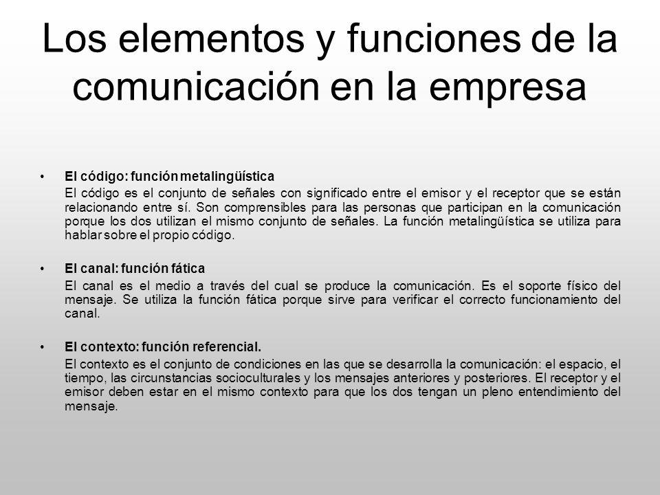 Los elementos y funciones de la comunicación en la empresa El código: función metalingüística El código es el conjunto de señales con significado entr