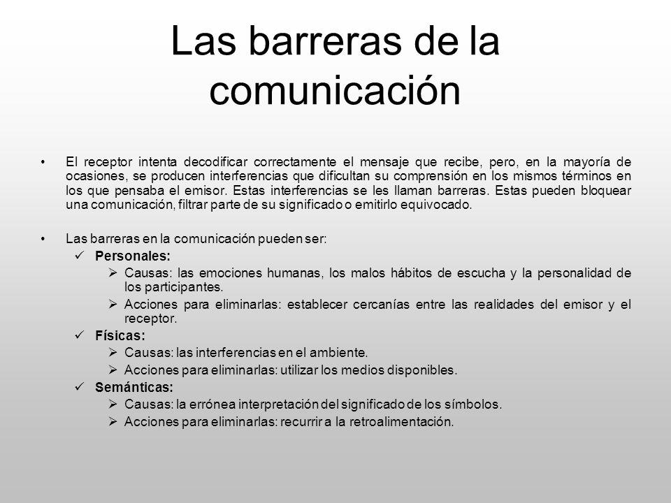 Las barreras de la comunicación El receptor intenta decodificar correctamente el mensaje que recibe, pero, en la mayoría de ocasiones, se producen int