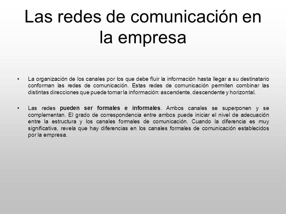 Las redes de comunicación en la empresa La organización de los canales por los que debe fluir la información hasta llegar a su destinatario conforman