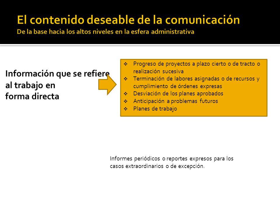 Información que se refiere al trabajo en forma directa Progreso de proyectos a plazo cierto o de tracto o realización sucesiva Terminación de labores