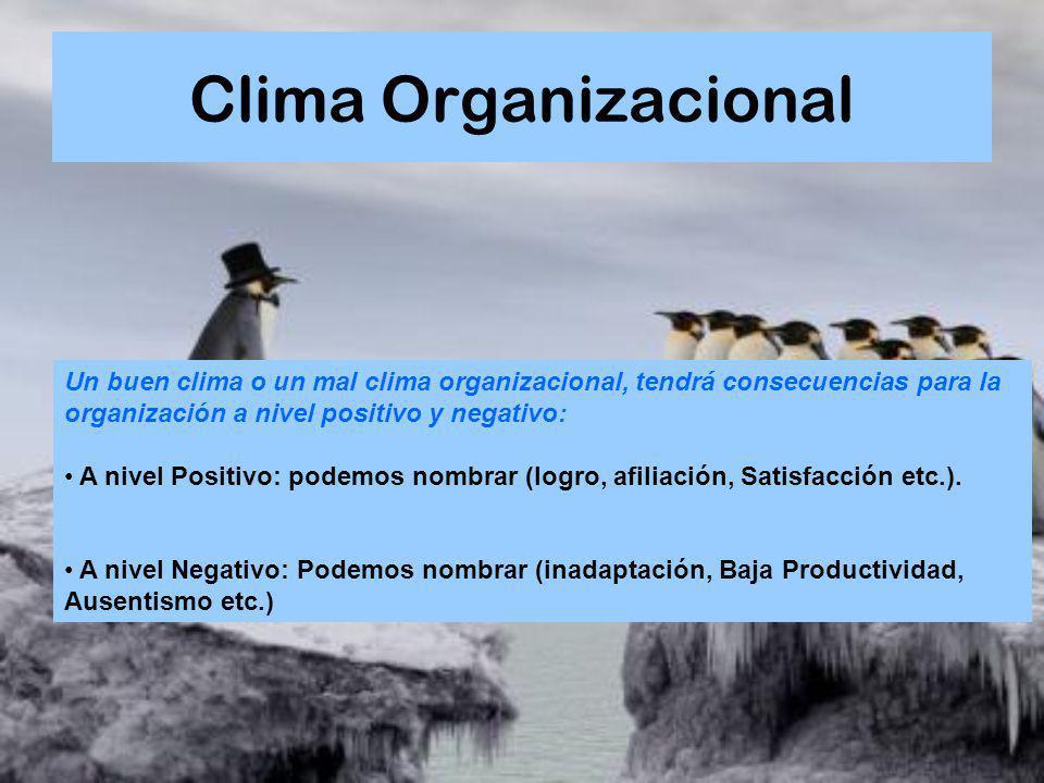 Clima Organizacional Un buen clima o un mal clima organizacional, tendrá consecuencias para la organización a nivel positivo y negativo: A nivel Posit