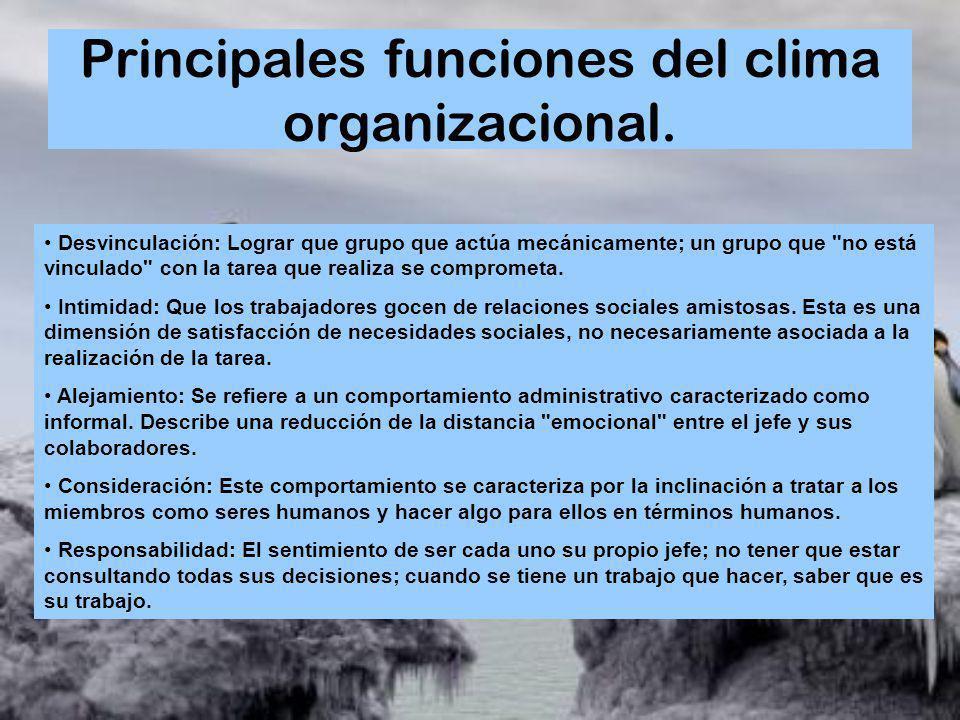 Principales funciones del clima organizacional. Desvinculación: Lograr que grupo que actúa mecánicamente; un grupo que