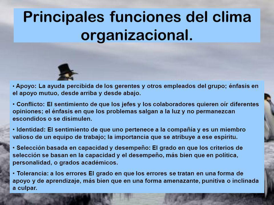 Principales funciones del clima organizacional. Apoyo: La ayuda percibida de los gerentes y otros empleados del grupo; énfasis en el apoyo mutuo, desd