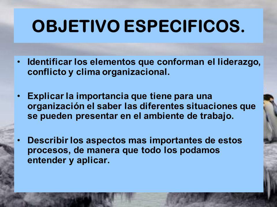 OBJETIVO ESPECIFICOS. Identificar los elementos que conforman el liderazgo, conflicto y clima organizacional. Explicar la importancia que tiene para u
