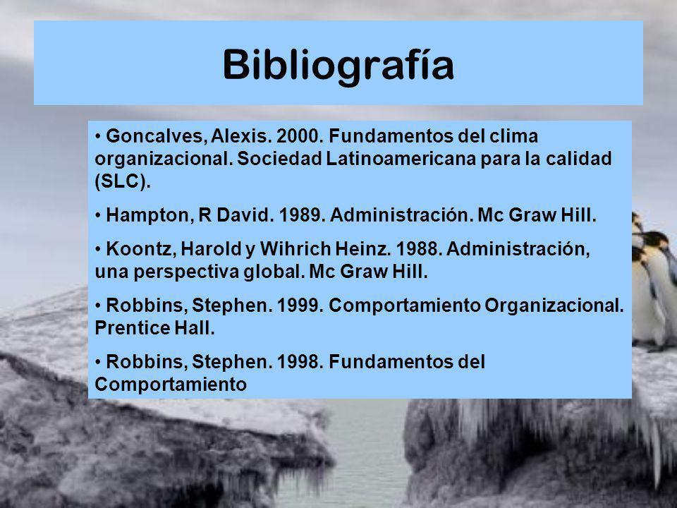 Bibliografía Goncalves, Alexis. 2000. Fundamentos del clima organizacional. Sociedad Latinoamericana para la calidad (SLC). Hampton, R David. 1989. Ad