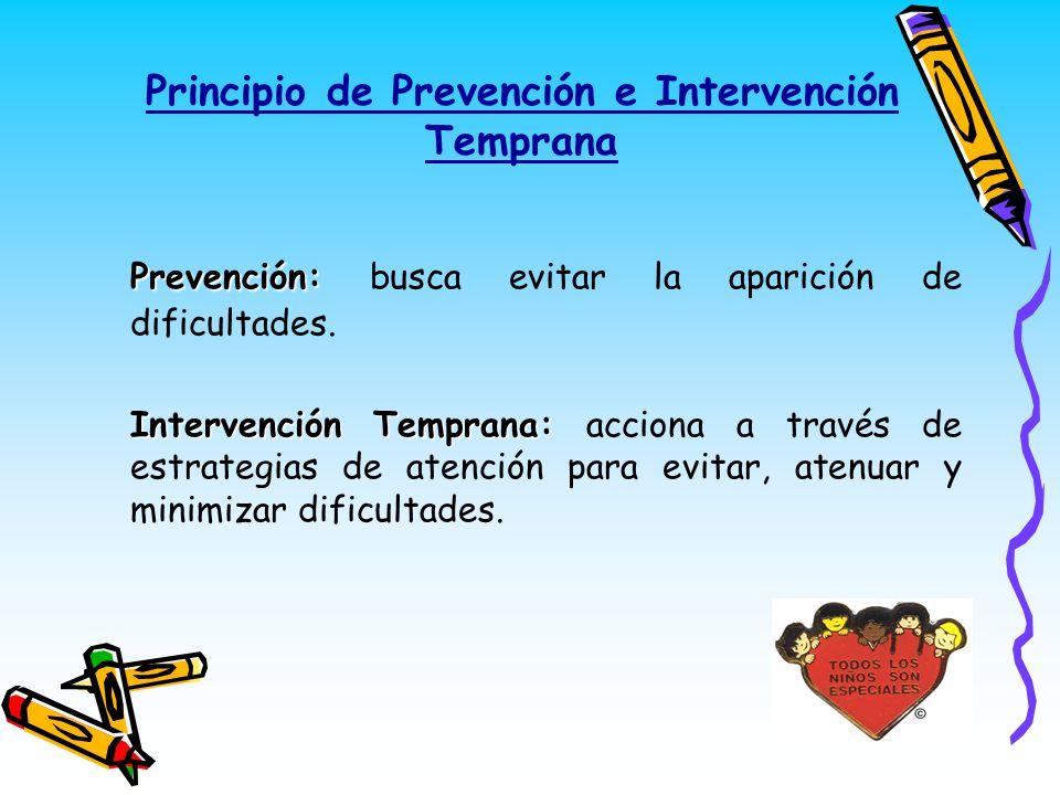 Principio de Prevención e Intervención Temprana Prevención: Prevención: busca evitar la aparición de dificultades. Intervención Temprana: Intervención