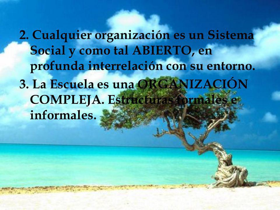 2. Cualquier organización es un Sistema Social y como tal ABIERTO, en profunda interrelación con su entorno. 3. La Escuela es una ORGANIZACIÓN COMPLEJ