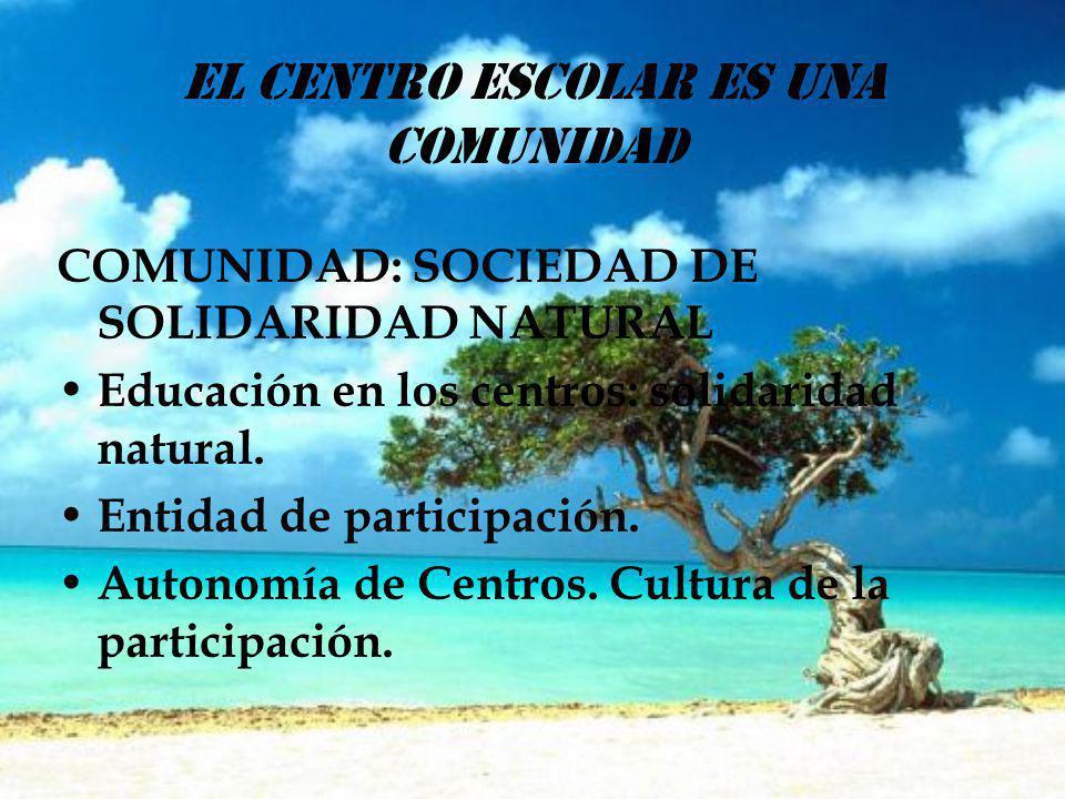 EL CENTRO ESCOLAR ES UNA COMUNIDAD COMUNIDAD: SOCIEDAD DE SOLIDARIDAD NATURAL Educación en los centros: solidaridad natural. Entidad de participación.