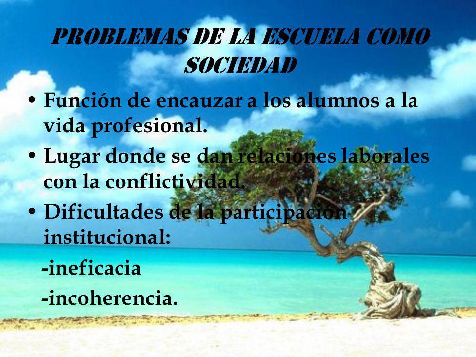 PROBLEMAS DE LA ESCUELA COMO SOCIEDAD Función de encauzar a los alumnos a la vida profesional. Lugar donde se dan relaciones laborales con la conflict