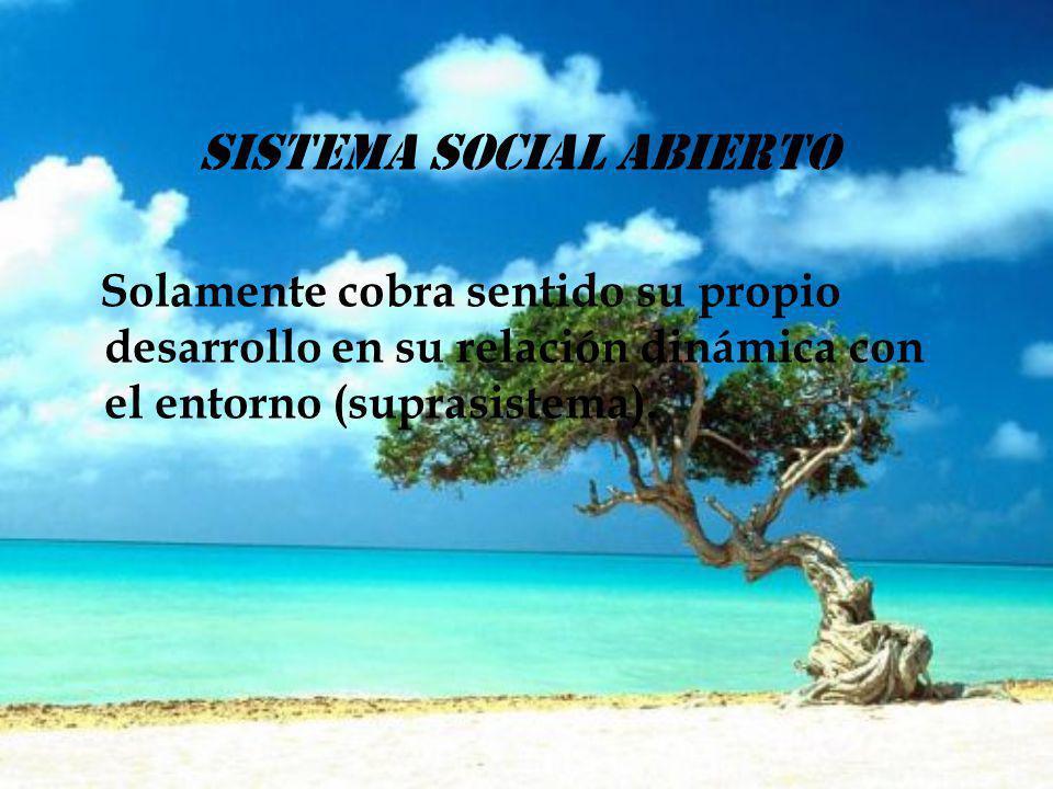 sistema social abierto Solamente cobra sentido su propio desarrollo en su relación dinámica con el entorno (suprasistema).