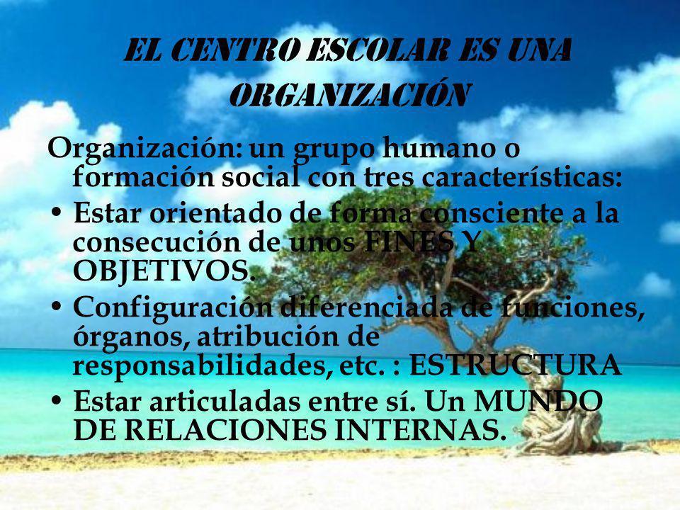 EL CENTRO ESCOLAR ES UNA ORGANIZACIÓN Organización: un grupo humano o formación social con tres características: Estar orientado de forma consciente a la consecución de unos FINES Y OBJETIVOS.