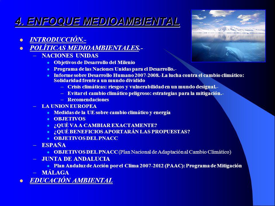 4. ENFOQUE MEDIOAMBIENTAL INTRODUCCIÓN.- POLÍTICAS MEDIOAMBIENTALES.- –NACIONES UNIDAS Objetivos de Desarrollo del Milenio Programa de las Naciones Un