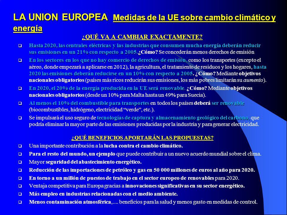 LA UNION EUROPEA Medidas de la UE sobre cambio climático y energía ¿QUÉ VA A CAMBIAR EXACTAMENTE.