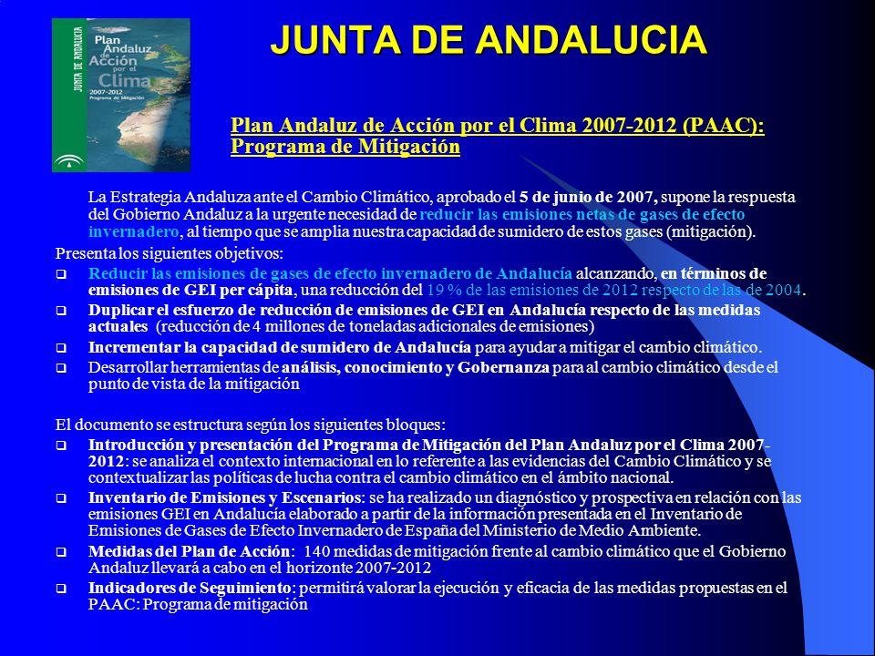 JUNTA DE ANDALUCIA Plan Andaluz de Acción por el Clima 2007-2012 (PAAC): Programa de Mitigación La Estrategia Andaluza ante el Cambio Climático, aprobado el 5 de junio de 2007, supone la respuesta del Gobierno Andaluz a la urgente necesidad de reducir las emisiones netas de gases de efecto invernadero, al tiempo que se amplia nuestra capacidad de sumidero de estos gases (mitigación).