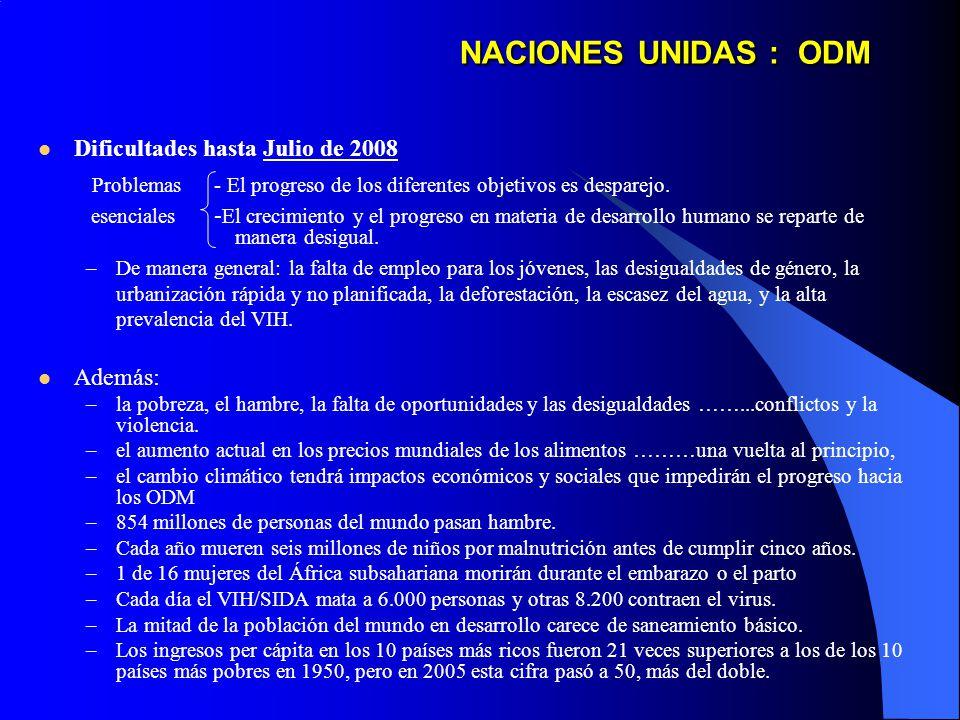 NACIONES UNIDAS : ODM Dificultades hasta Julio de 2008 Problemas - El progreso de los diferentes objetivos es desparejo.