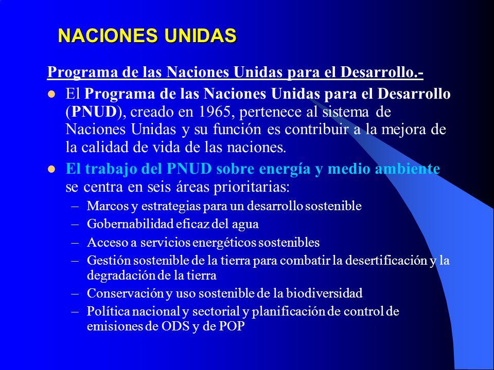 NACIONES UNIDAS Programa de las Naciones Unidas para el Desarrollo.- El Programa de las Naciones Unidas para el Desarrollo (PNUD), creado en 1965, pertenece al sistema de Naciones Unidas y su función es contribuir a la mejora de la calidad de vida de las naciones.