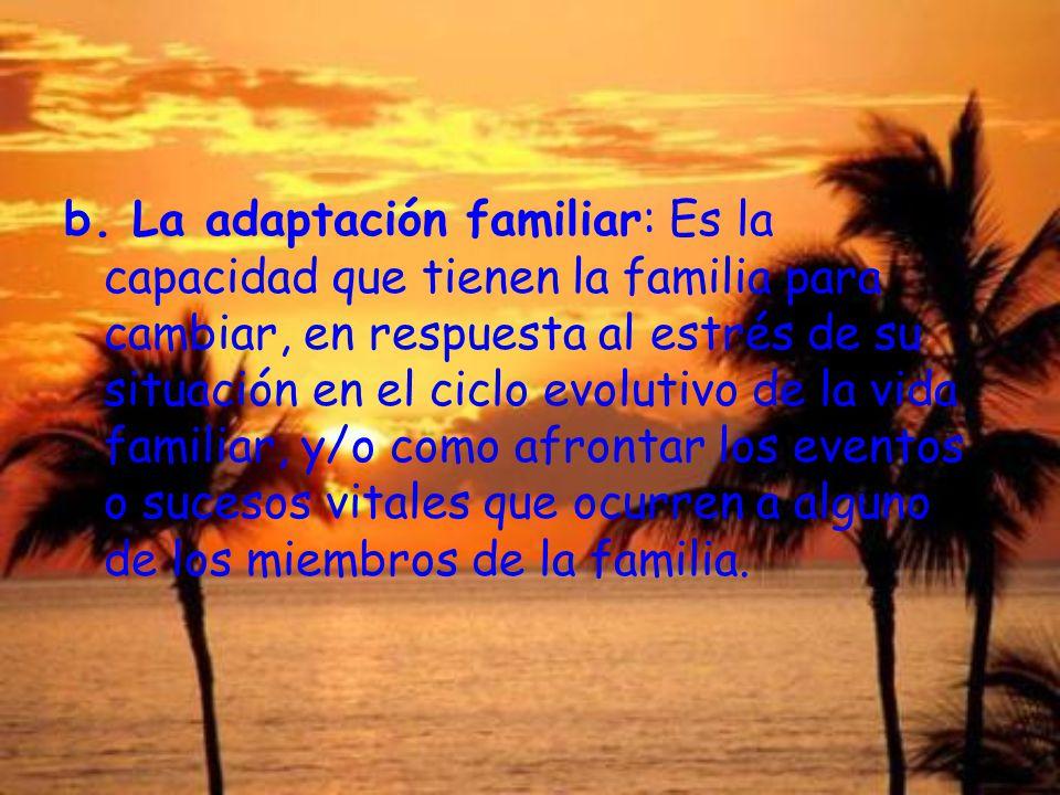 b. La adaptación familiar: Es la capacidad que tienen la familia para cambiar, en respuesta al estrés de su situación en el ciclo evolutivo de la vida