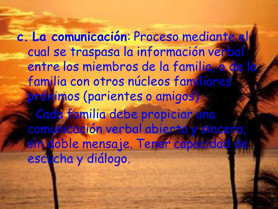 c. La comunicación: Proceso mediante el cual se traspasa la información verbal entre los miembros de la familia, o de la familia con otros núcleos fam