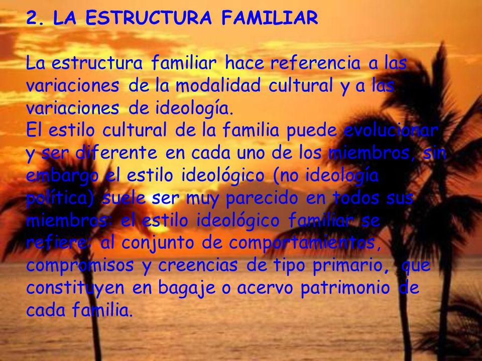 2. LA ESTRUCTURA FAMILIAR La estructura familiar hace referencia a las variaciones de la modalidad cultural y a las variaciones de ideología. El estil