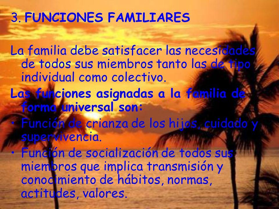 3. FUNCIONES FAMILIARES La familia debe satisfacer las necesidades de todos sus miembros tanto las de tipo individual como colectivo. Las funciones as