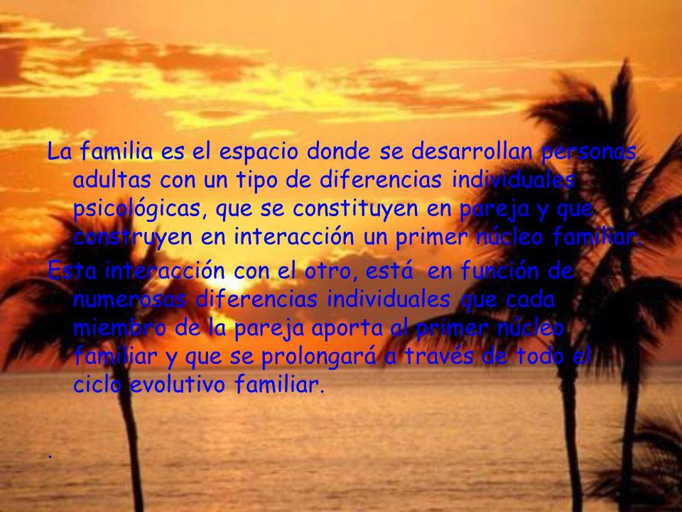 La familia es el espacio donde se desarrollan personas adultas con un tipo de diferencias individuales psicológicas, que se constituyen en pareja y qu