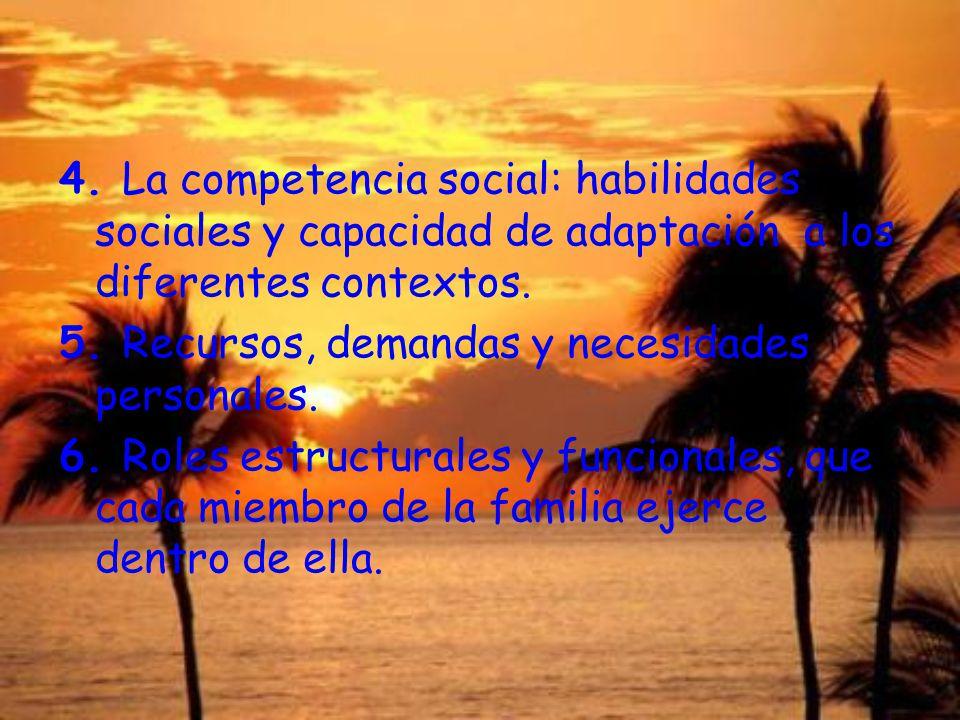 4. La competencia social: habilidades sociales y capacidad de adaptación a los diferentes contextos. 5. Recursos, demandas y necesidades personales. 6