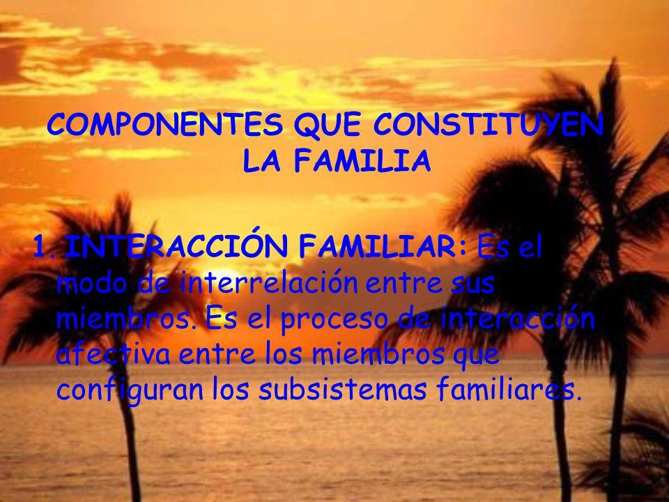 COMPONENTES QUE CONSTITUYEN LA FAMILIA 1. INTERACCIÓN FAMILIAR: Es el modo de interrelación entre sus miembros. Es el proceso de interacción afectiva
